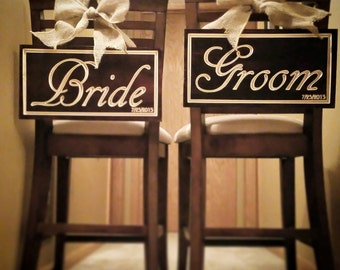 Wedding Bride and Groom Wood Chair Backs