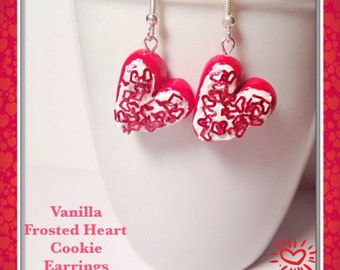 Heart Earrings, Polymer Clay, Red Hearts, Heart Shaped, Cookie Jewelry, Kawaii Clay Charms, Clay Hearts, Tiny Clay Food, Silver Earrings