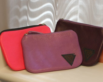 Soft leather wallet / coin case in bright pink and purple hues