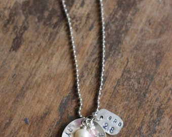 "Handstamped ""Grace Alone"" necklace"