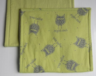 Set of 2 Organic Baby Burb Cloths - Soft and absorbent with cute owl print!