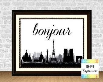 Bonjour Art Print, French For Good Day, Printable Paris Skyline, Eiffel Tower Art, Printable Wall Decor, Digital Poster, INSTANT DOWNLOAD