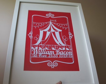 The Circus is Coming - Papercut A4 Paper/Card - Personalised Name & Date Commemoration