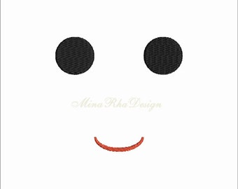 Simple Doll Face Machine Embroidery Design  Instant Download