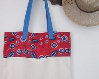 Cotton canvas shop bag with African fabric, African tissue shop bag, red purple blue african wax print tote bag. Light blue handle. OOAK