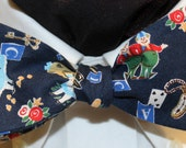 BLUE ALICE: Imported Japanese Cotton Bow Tie, for men and women, adjustable Self Tie or 60s Clip On