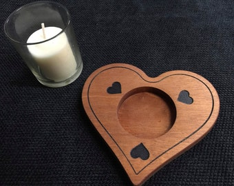 Engraved Mahogany Votive Candle Holder
