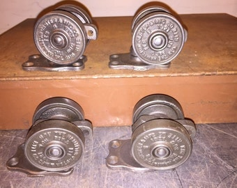 "Hamilton ""Run-Rite"" Industrial Factory double wheel Caster set 1921"