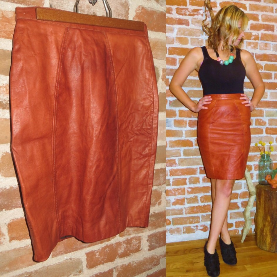vintage high waist camel colored leather pencil skirt