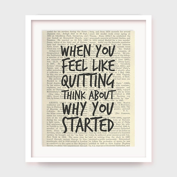 Exercise Poster, When You Feel Like Quitting Think About Why You Started, Printable Motivational, Workout Quote, Workout Printable Art