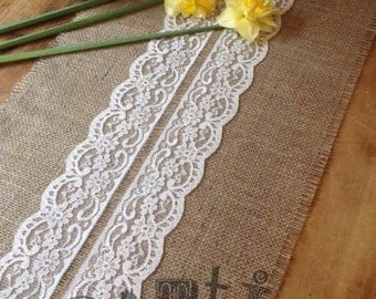 40ft Pretty Handmade Hessian and Lace Table Runner