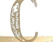 wooden letter C - laser cut bird in branch - alphabet