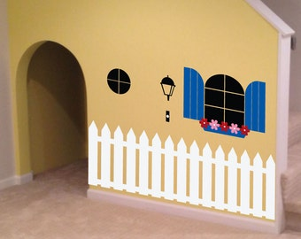 Indoor Playhouse Decal - 0088 - kids wall art - playroom decal - kids playroom decor - picket fence decal - childrens wall art