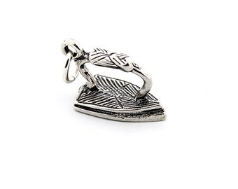 Sterling silver Iron bracelet charm Iron charm pendant with open jump ring (C-13)