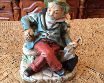 Old Man Figurine - Drunk Grandpa Sitting on a Bench - Fathers Day Funny Gift - Gifts for Him