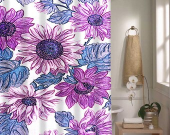 Floral Shower Curtain Purple Blue Flower Pattern Shower Curtain Bathroom Decor Home Decor
