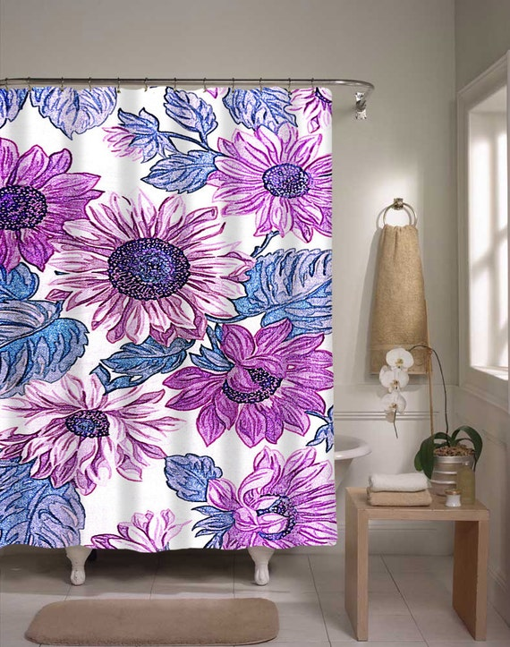 Items Similar To Floral Shower Curtain Purple Blue Flower Pattern Shower Curtain Bathroom Decor