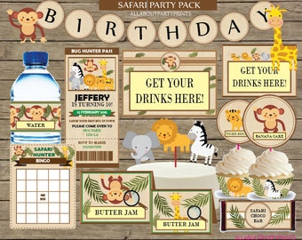 Instant Download- Safari themed party pack printable- kid birthday complete party pack-for personal use only