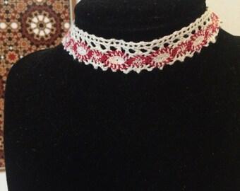 Multi/White Crochet Choker