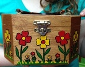 Vintage Gary Gail of Dallas Wooden Purse with Lucite Handle Flowers Yellow Red Green Made in USA Retro Box Purse