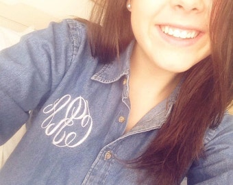 Monogrammed Denim Shirt - Classic Look - Personalized!