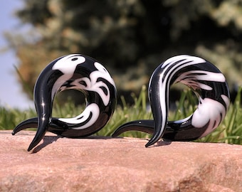 Pair of glass pyrex twister hanger spiral tapers 3 COLORS ear plugs gauged ear spacers jewelry GT-002