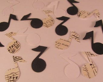 Music Notes Black, White, and Sheet Music Print Confetti Die Cut - 100 ct
