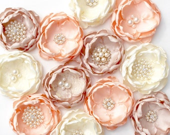 DIY Wedding Fabric Flowers, Brooch Fabric Flowers, Peach, Oatmeal and Ivory Fabric Flowers