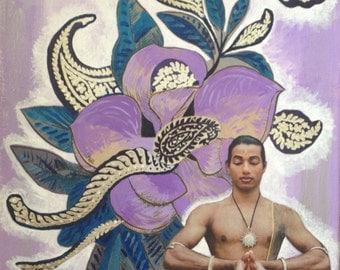 """Mixed Media Collage Art """"Lotus Prayer"""""""