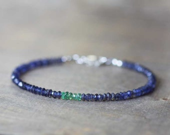 Delicate Iolite Bracelet with Emerald, Skinny Blue Gemstone Stacking Bracelet, Zambian Emerald Jewelry, Iolite Jewelry, Blue Green Bracelet