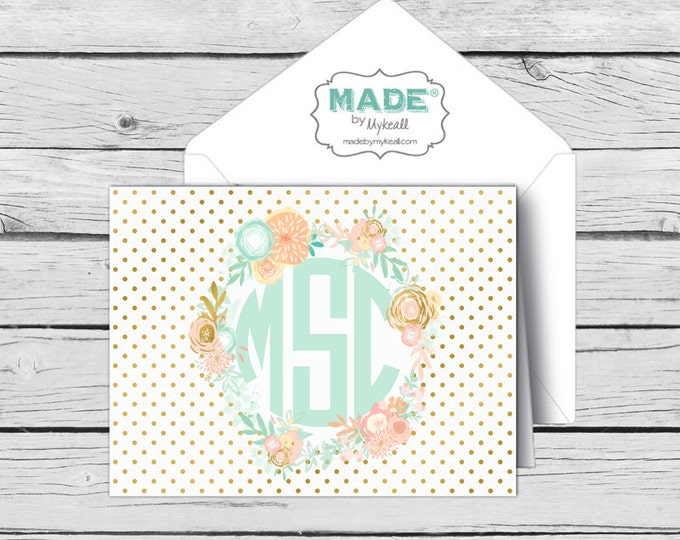 Circle MONOGRAM Mint & Peach Floral NOTE CARD Set, Made-to-Match Cards, Birthday, Printed Thank You Cards
