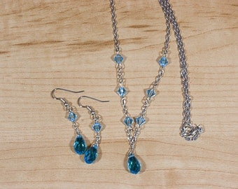 Teardrop Necklace with Earring Set
