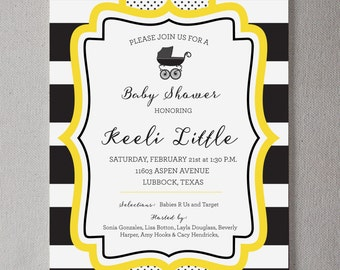 Black and White Striped Baby Shower Invite