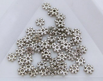4MM Daisy Spacers Beads (100) Antique Silver Spacer Beads