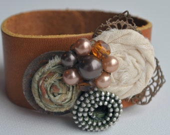 Vintage Inspired Fabric and Zipper Rosette Leather Cuff Bracelet