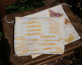 Hand Knit Baby Blanket With Ditty Bag