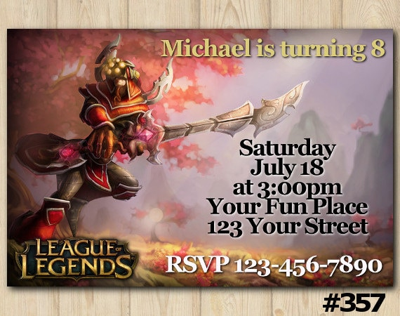 Lol Birthday Invitation League Of Legends Party Lol Birthday Party Lol Custom Invite 357 Diy Printables