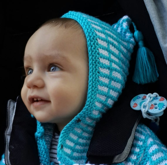 knitting hooded cardigan,children,baby,baby shower gift,birthday,child,knit,baby clothes,knittings,fringed hood,outfit,turquoise,boy,girl