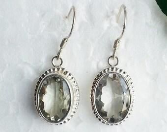 Genuine NATURAL GREEN AMETHYST Gemstone Earrings, Birthstone Earrings, 925 Sterling Silver Earrings, Handmade Earrings, Dangle Earrings