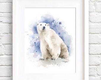 Polar Bear - Watercolor Painting - Art Print - Signed by Artist DJ Rogers - Wall Decor