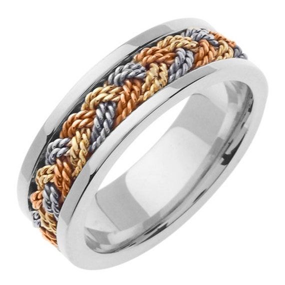 tri color gold braided wedding ring by jewelerscraft