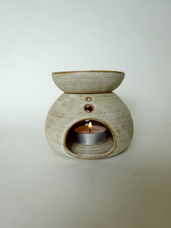 Handmade Ceramic Essential Oil Burner Rustic White