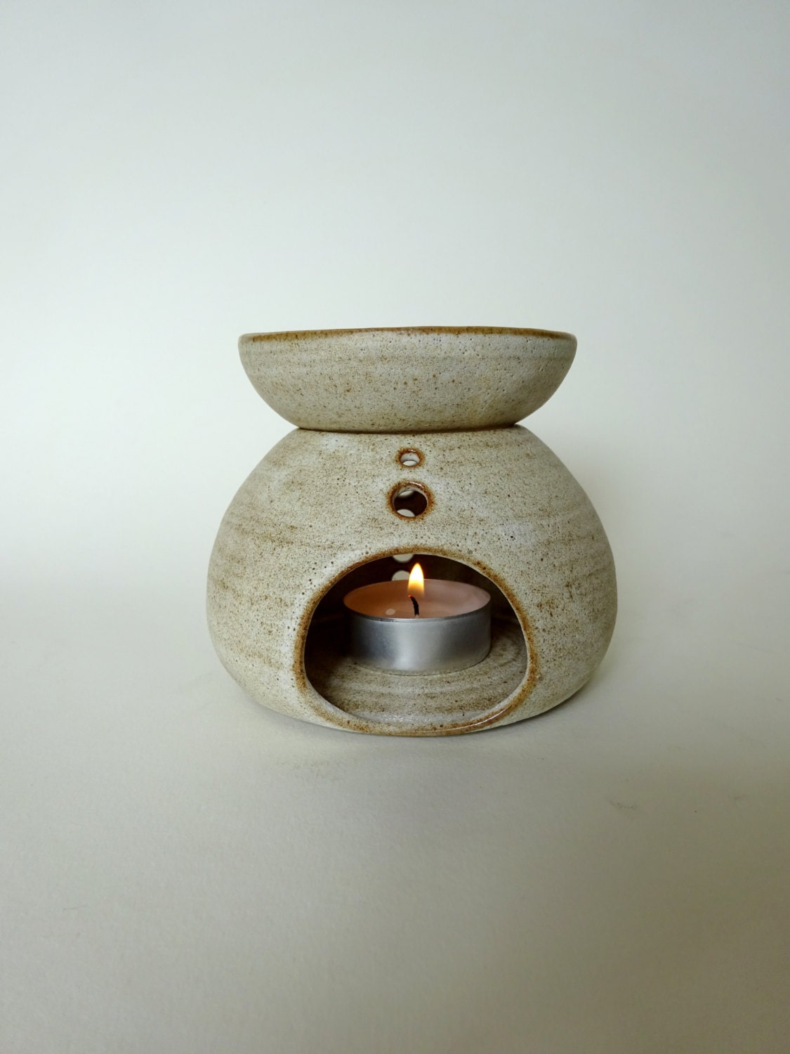 Ceramic Oil Burner ~ Handmade ceramic essential oil burner rustic white