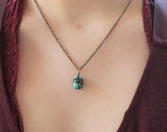 Turquoise Nugget Charm Necklace // Turquoise Pendant Necklace //