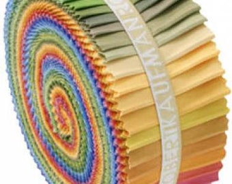 Kaufman Kona Cotton Solids Jelly Roll Roll Up Fabric Pre Cut Strips New Dusty Palette RU-229-41