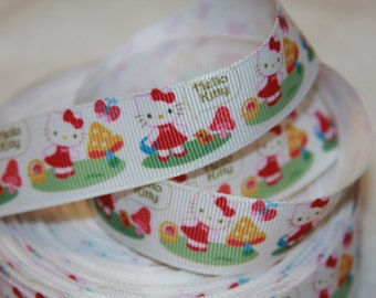 "Hello Kitty inspired 7/8"" grosgrain ribbon R244"