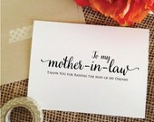 To my mother in law thank you for raising the man of my dreams card wedding mother in law card (Lovely)