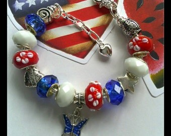 """Country """"Daisey Dukes"""" Americana 4th of July European Style Charm Bracelet ~ Red White & Blue, USA, Patriotic, Lampwork Beads Ladies Jewelry"""