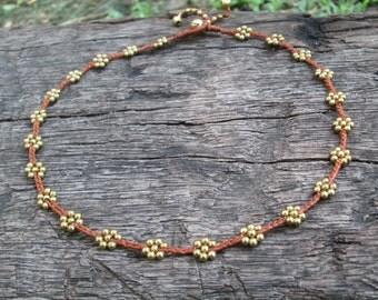 Daisy Bead Necklace,Brass Bead Necklace,Simple Bead Necklace,Daisy Brass Boho Necklace,Bohemian Bead Necklace