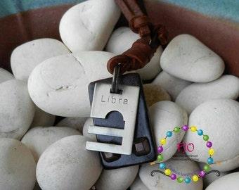 Mens zodiac Necklace Adjustable Leather Necklace Libra Necklace Bohemian Necklace